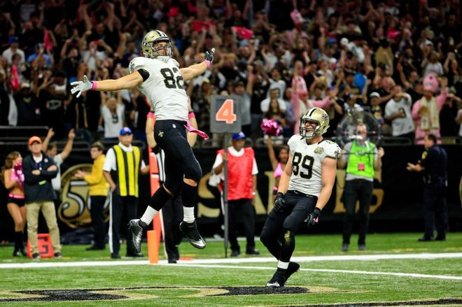 Panthers vs. Saints:      October 16, 2016  -  41-38, Saints  -    Carolina Panthers at New Orleans Saints  Oct 16, 2016; New Orleans, LA, USA; New Orleans Saints tight end Coby Fleener (82) celebrates after a touchdown against the Carolina Panthers during the first quarter of a game at the Mercedes-Benz Superdome. Mandatory Credit: Derick E. Hingle-USA TODAY Sports