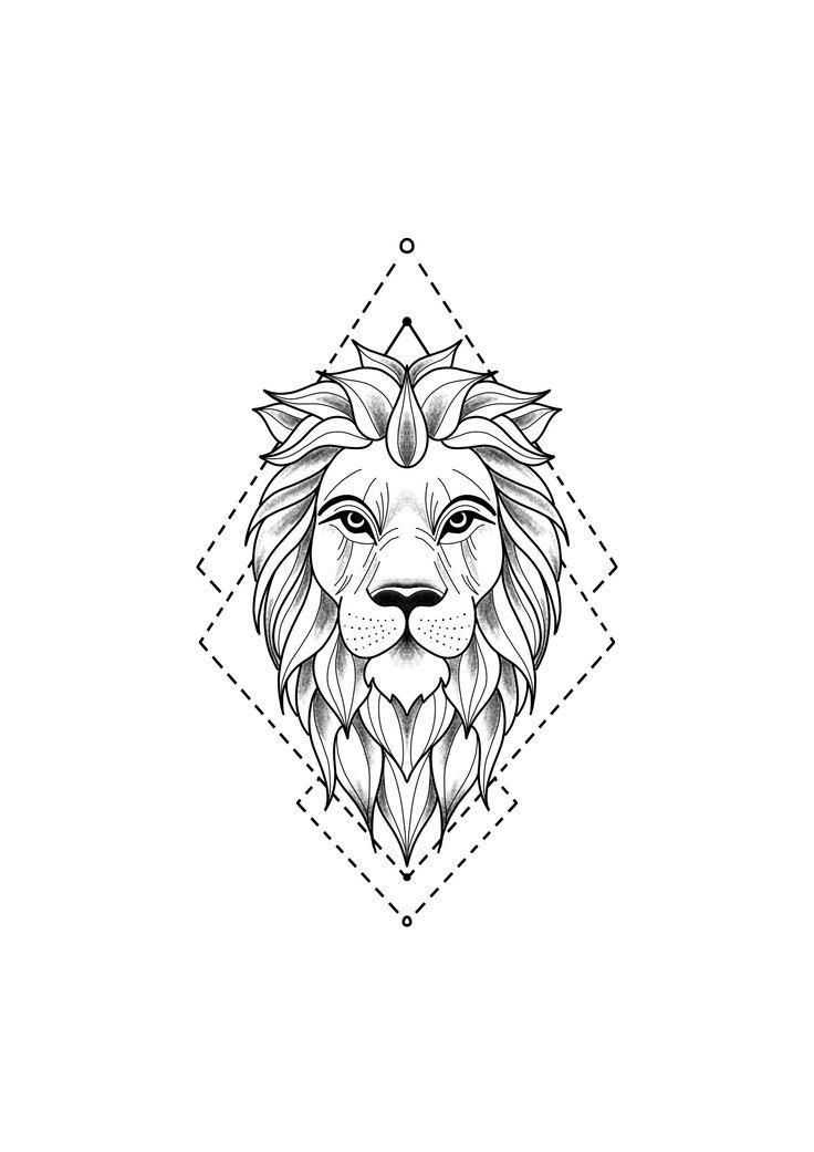 Realistische Lowenkopf Zeichnung Tattoo Vorlage 10 15