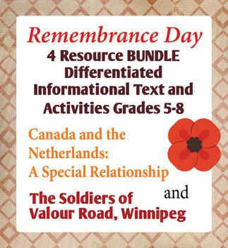This resource includes four resources for Remembrance Day, The Soldiers of Valour Road, Winnipeg, one designed for students in grades 5-6 and one for students in grades 7-8, and Canada and the Netherlands: A Special Relationship, two resources, one at the 5-6 level and another