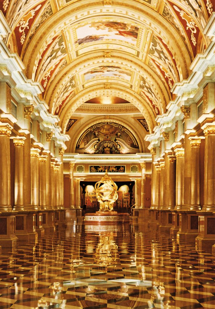 Exquisite hallways of The Venetian.  This hallway connects the reception area to the casino and shops.