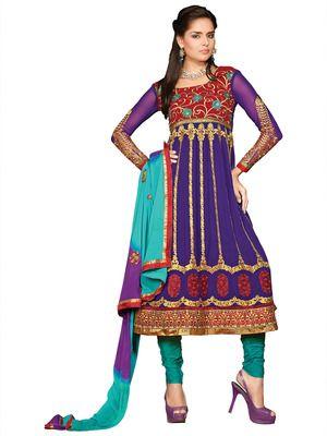 Purple & Red Color Designer Embroidered Pure Georgette Semi-Stitched Anarkali