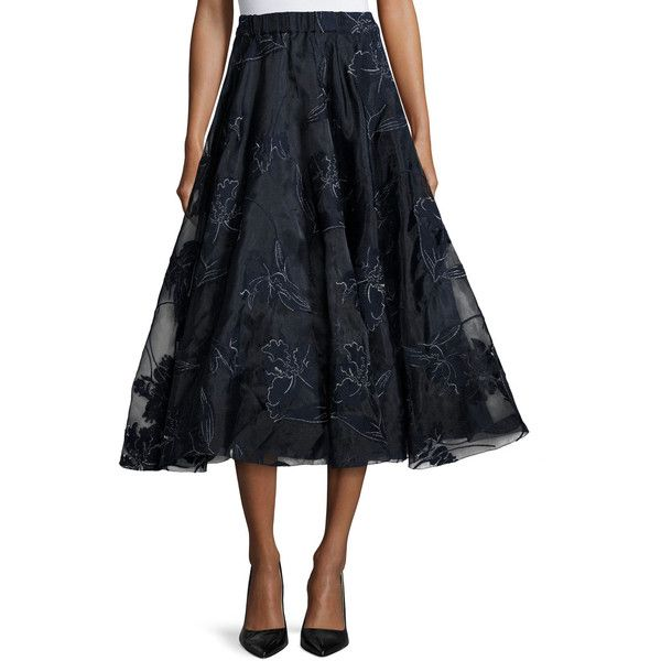 Co Embroidered Iris Organza Full Midi Skirt ($1,925) ❤ liked on Polyvore featuring skirts, navy, calf length skirts, embroidered skirt, navy a line skirt, navy blue a line skirt and elastic band skirt