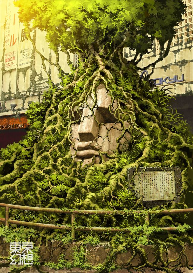 The illustrations of TokyoGenso (a.k.a. Tokyo Fantasy) depict a post-apocalyptic Tokyo devoid of people and overtaken by nature. // Moai statue at Shibuya station: Tokyogenso 東京幻想, Posts Apocalyptic Tokyo, Tokyo Genso, Moai Statues, Illustration, Artists Imagination, Trees Roots, Ruins, Moaishibuyajpg 9921403
