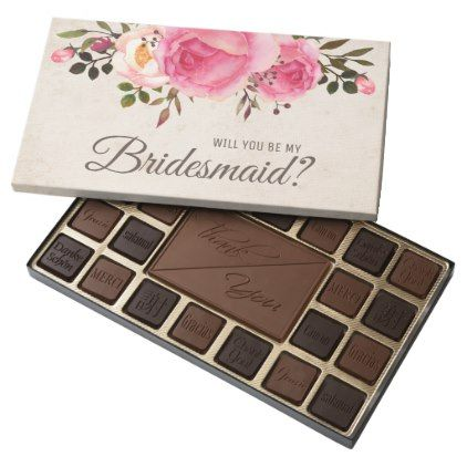 Will you be my bridesmaid box of chocolates - winter wedding diy marriage customize personalize couple idea individuel