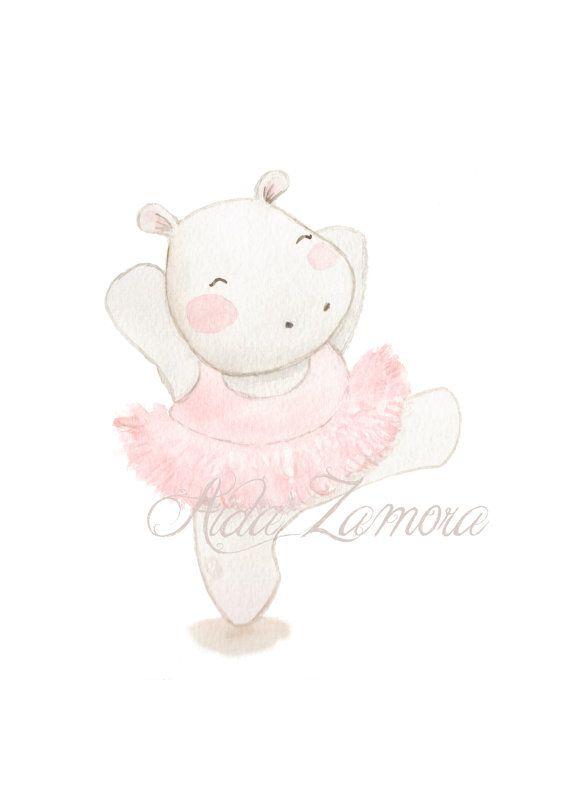 Nursery Art HIPPOPOTAMUS BALLERINA Art Print pink por AidaZamora