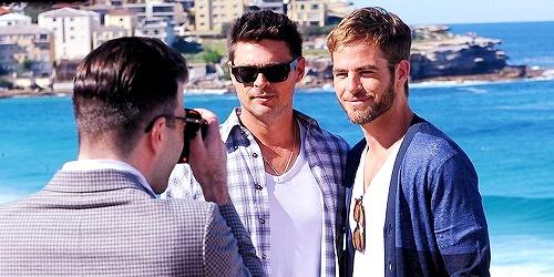 Photo call for 'Star Trek Into Darkness' cast at Bondi Beach: Zachary Quinto, Karl Urban and Chris Pine