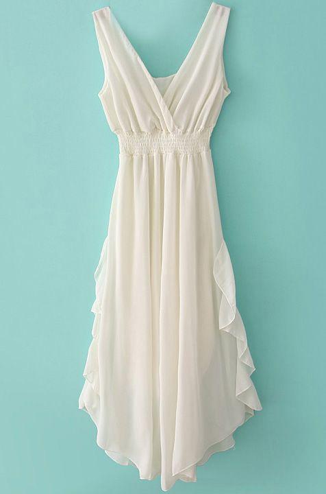 White V Neck Bandeau Ruffles Chiffon Dress - Sheinside.com