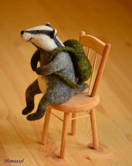 Needle felted toy badger-traveler by Krupennikova Oxana. Войлочная игрушка Барсук-путешественник, сухое валяние, Крупенникова Оксана.: