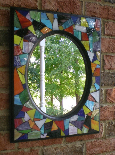 Stained Mosaic Mirror Wall Art  by artsyphartsy (Kathleen), via Flickr