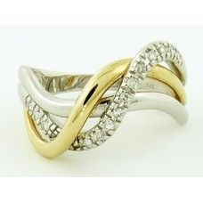 9CT DIAMOND 'S' CROSSOVER RING -  $675.00