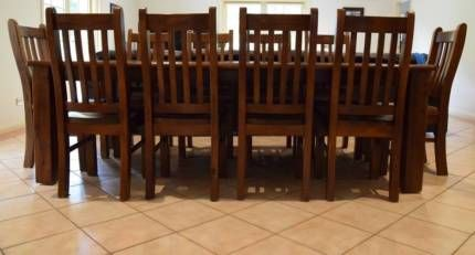 Rustic 10 seat dining setting - Solid timber, good condition | Dining Tables | Gumtree Australia Outer Geelong - Lara | 1129153876