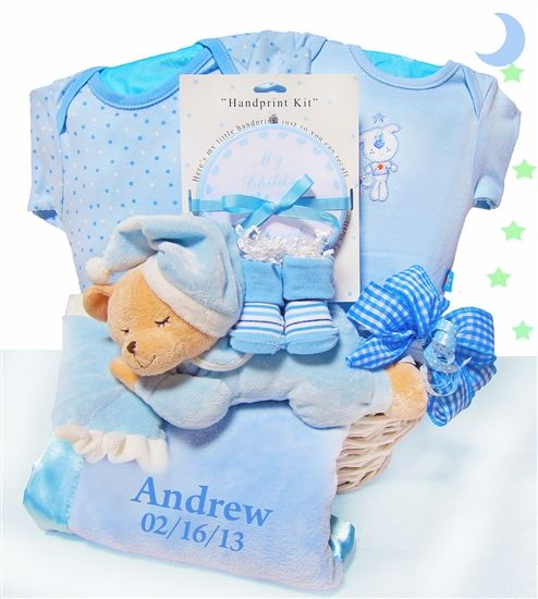 190 best gift baskets wagons images on pinterest baby gift personalized sleepy bear baby boy basket negle Image collections