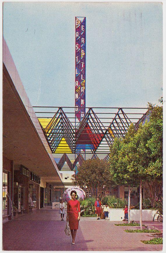 Vintage Postcard of West Covina Mall 1960 Pray for Peace Postmark on The Cedar Chest