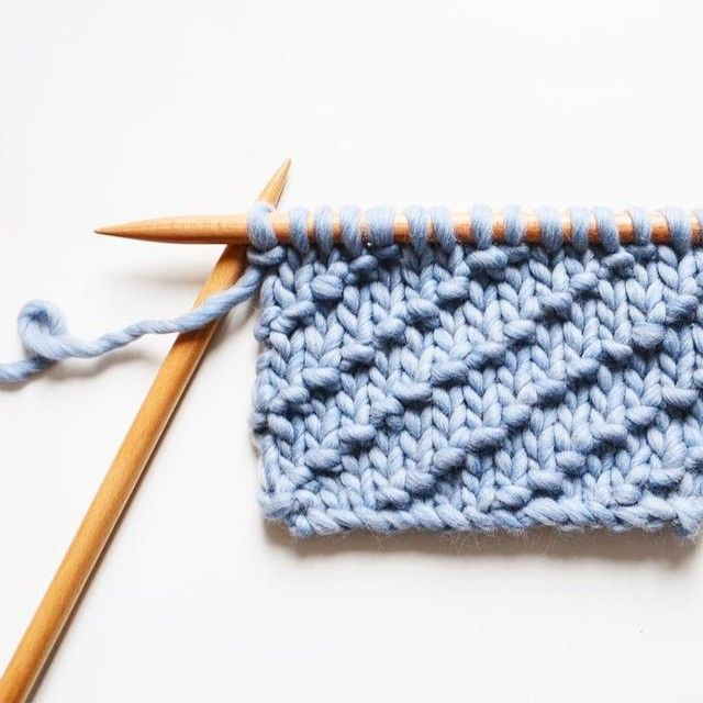 how to knit the diagonal seed stitch with denim wool