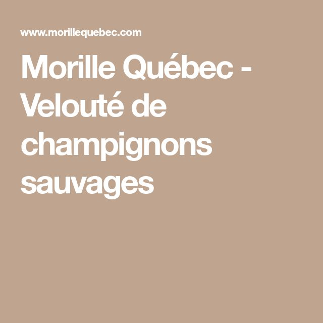 Morille Québec - Velouté de champignons sauvages