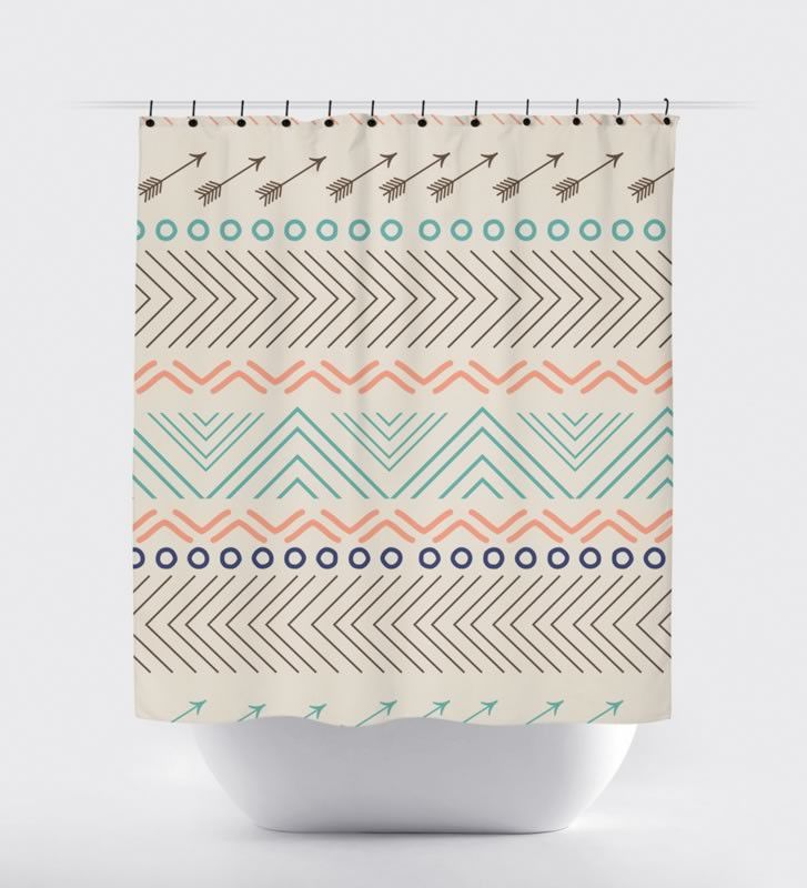 Salmon Navy Teal Aztec Arrow Shower Curtain Products