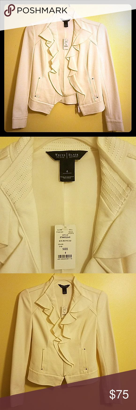 NWT WHITE HOUSE BLACK MARKET SIZE 4 JACKET SUPER CHIC, BRAND NEW WITH TAG, NEVER WORN, WHITE HOUSE BLACK MARKET WOMEN'S SIZE 4 JACKET IN CREAM/IVORY. I LOST THE BOTTOM PORTION OF THE PRICE TAG. FRONT ZIPPERS HALF WAY UP,  SLEEVES OF THE JACKET HAVE ZIPPERS AS WELL THAT ZIP UP ABOUT 3-4 INCHES, ALSO HAS 2 SMALL FRONT POCKETS. JACKET SHELL: 70% VISCOSE, 25% NYLON, 5% SPANDEX. JACKET LINING: 100% POLYESTER. DRY CLEAN ONLY White House Black Market Jackets & Coats