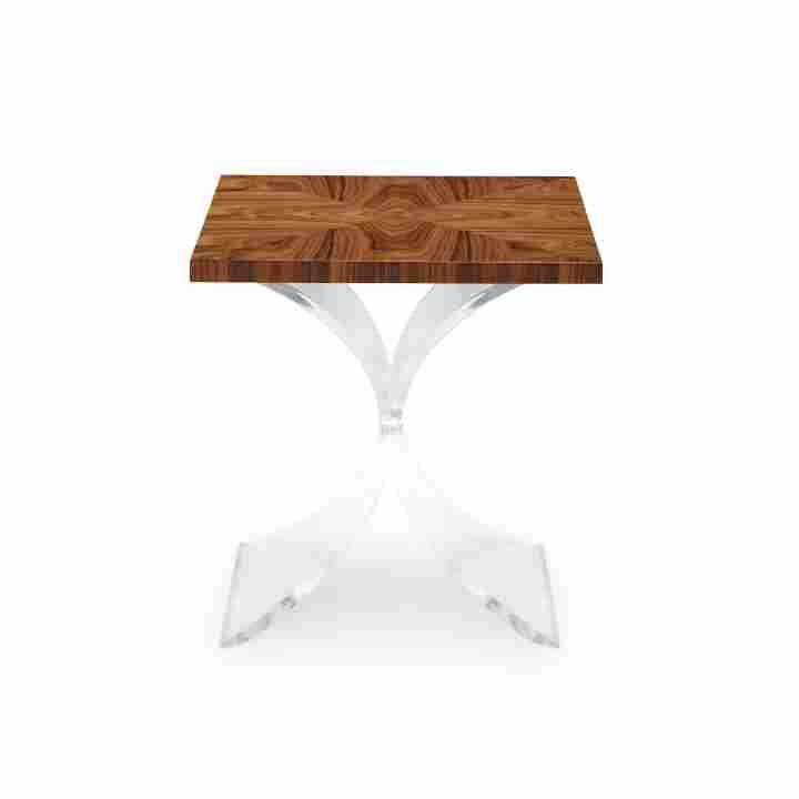 Curated Kravet Bunching Table With Rosewood Starburst Veneer Top And Lucite  / Clear Acrylic Base