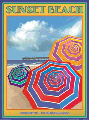 Sunset Beach NC Vintage Art Deco Style Travel Poster by Aurelio Grisanty