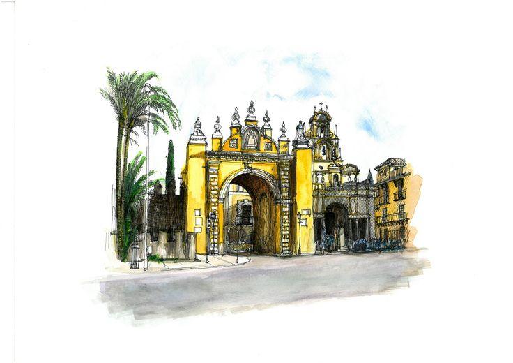 Arco de la Macarena, Sevilla. Acuarela y Tinta. 407x297mm. Papel canson 300gr