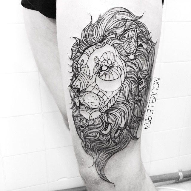 Tattoo artist Nouvelle Rita flawlessly transforms animals into an array of geometric shapes and clean lines.