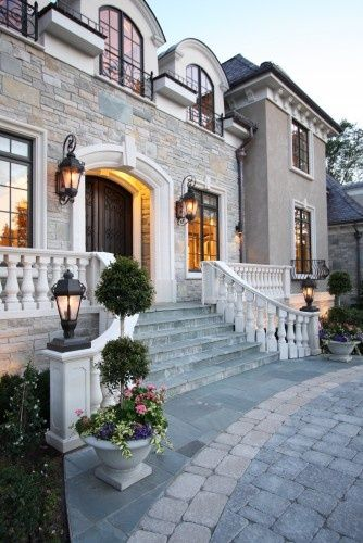Love this!!!!: House Ideas, French Chateau, Peter O'Tool, Dreams House, Front Doors, Window Panes, Traditional Exterior, Front Entrance, Black Window Trim