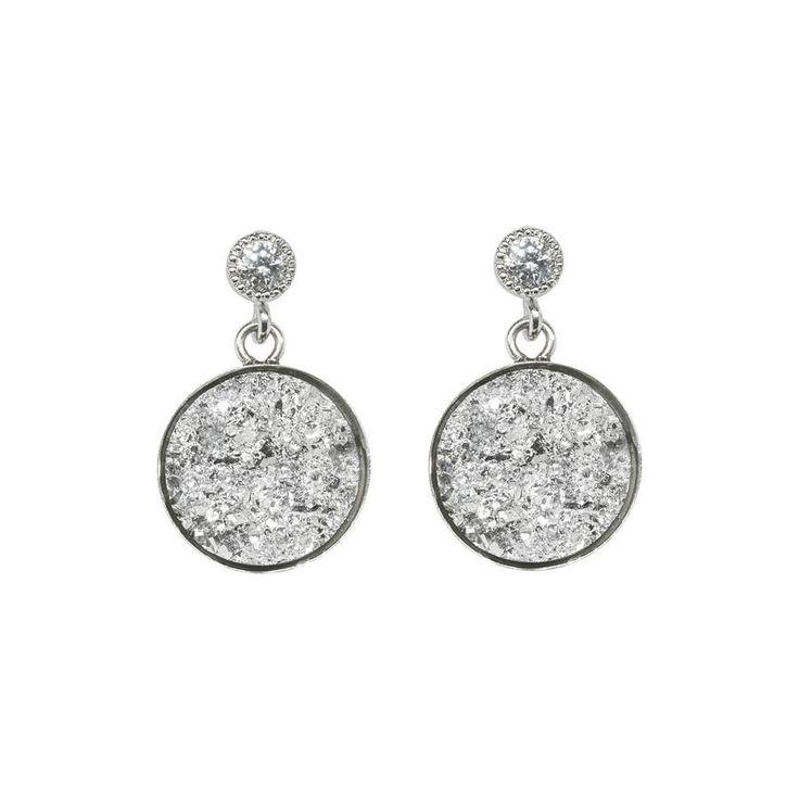 Druzy Silver Plated Sparkle Drop Earrings