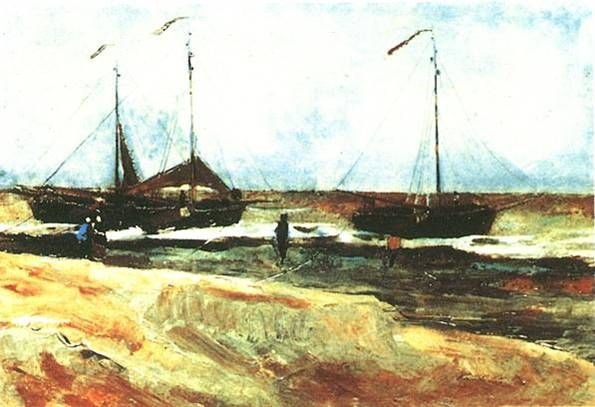 Vincent Van Gogh  Beach at Scheveningen in Calm Ewather, 1882  Oil on paper on panel ,   35.5 x 49.5 cm.  Minnesota Marine Art Museum                    인상파 대가인 반고흐의 초기작품  초기작품이지만 전성기의 격정적인 붓터치가 조금씩 보이기도 한다.  풍경에서 받는 인상을 독특하게 표현한 초기작품이다. 하늘의 색과 다양한 꽃의 색깔이 전체적으로 아름다운 그림이다.