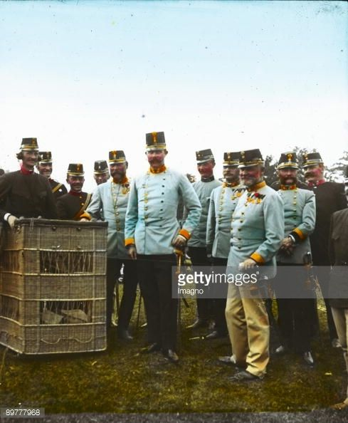 The Archduke Franz Ferdinand of Austria-Este, heir presumptive to the Austro-Hungarian throne, is visiting a hot-air balloon. Hand-colored lantern slide. Around 1910.
