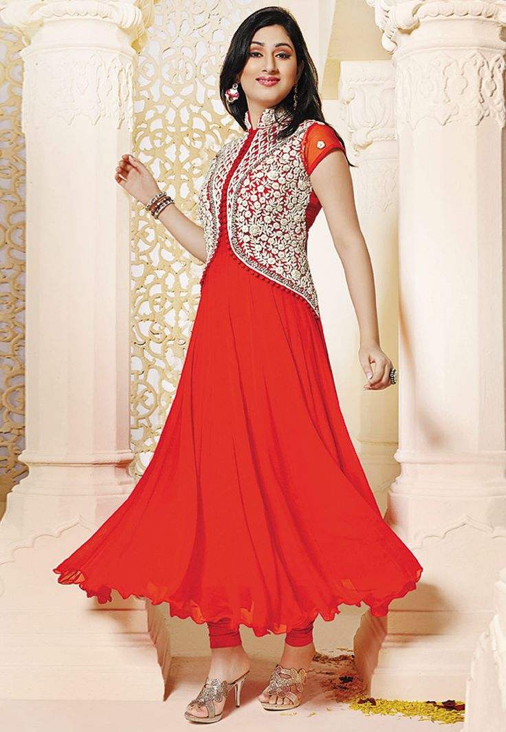 #Red Faux #Georgette #Anarkali #ChuridarKameez  Item Code: KAP51  Price: $85.30