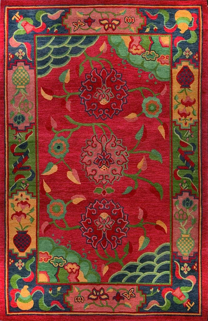 Classic Tibetan Floral (red) by A Rug For All Reasons | The red in this rug is a raspberry red, rather than a tomato or more orange red. The colors are extraordinary and the rug is stunning in a room.
