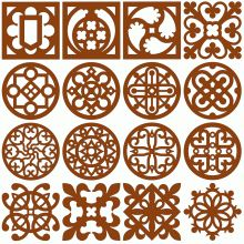 With these patterns you can make decorative wooden coasters. To create them, you will need wood pieces with dimensions (95mm x 95mm x 3mm (3 ¾' x 3 ¾' x 1/8')) from which patterns need to be cut in scroll saw technique.