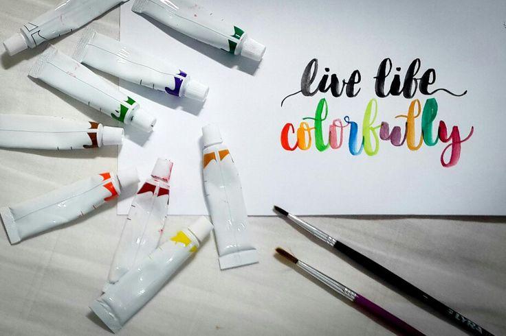 live life colorfully  #watercolor #diy #handlettering #handletter #brushscript #brushlettering