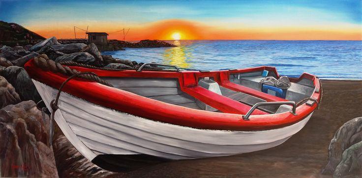 Bote al ocaso óleo sobre tela de 146 x 72 original ...VENDIDO