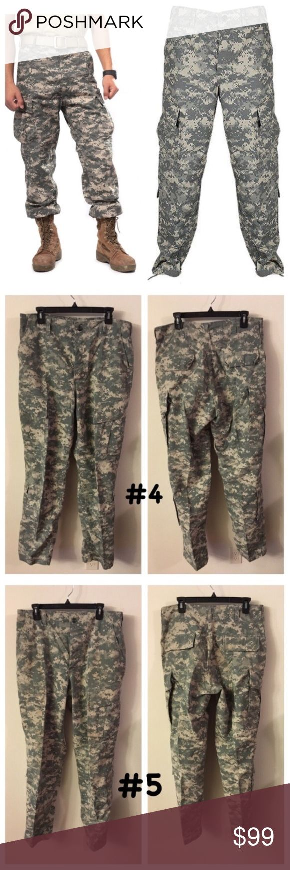 "Medium-Long ACU Army Combat Uniform Pants: 1 pair 📦Same day shipping (as long as P.O. is open for business). ❤ Measurements are approximate. Descriptions are accurate to the best of my knowledge.  Price is for one pair! All are size Medium Long Army ACU (Army Combat Uniform) Trousers. Each photo is front/back of each separate pair. These ACU pants are gender neutral. Fits inseams 32.5""-35.5"" & waist 31""-35"". Normal wear from use: free from holes/stains. Smoke/pet free. Some of the labels…"