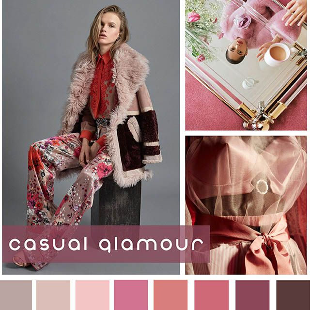 #DesignOptions FW18/19 color report on #WeConnectFashion, Contemporary Women's Mood: Casual Glamour.