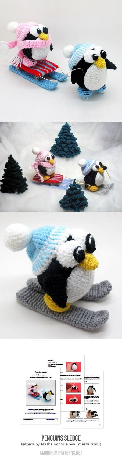 Penguins and their sledge amigurumi. This is so cute!