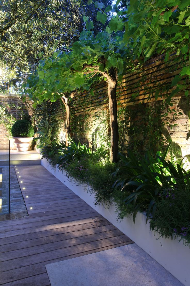 Increased fence height and small trees offering height and shade.  Up lighting creates a magical mood at night.
