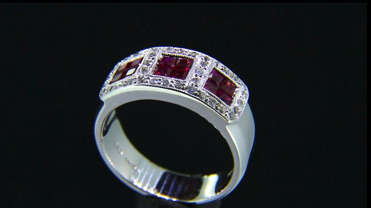 'SALVIA' -- Vintage Style Ruby & Diamond ring set with Square Cut Rubies & Accent Baby Diamonds with Millegrain Edge Detail Diamond Wt. 0.22cts; Ruby Wt. 1.03 cts.