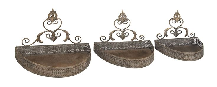 Canales Traditional Iron Semi Oval Scroll Designed 3 Piece Wall Shelf Set