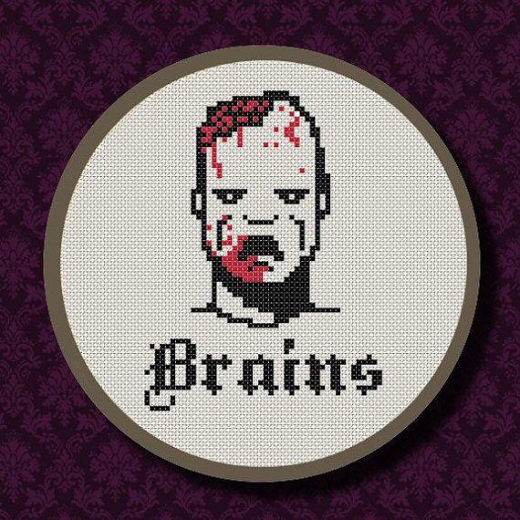 Zombie BRAINS Cross Stitch PDF Pattern  Blood Guts by LadyBeta, $3.00  #zombie #zombies