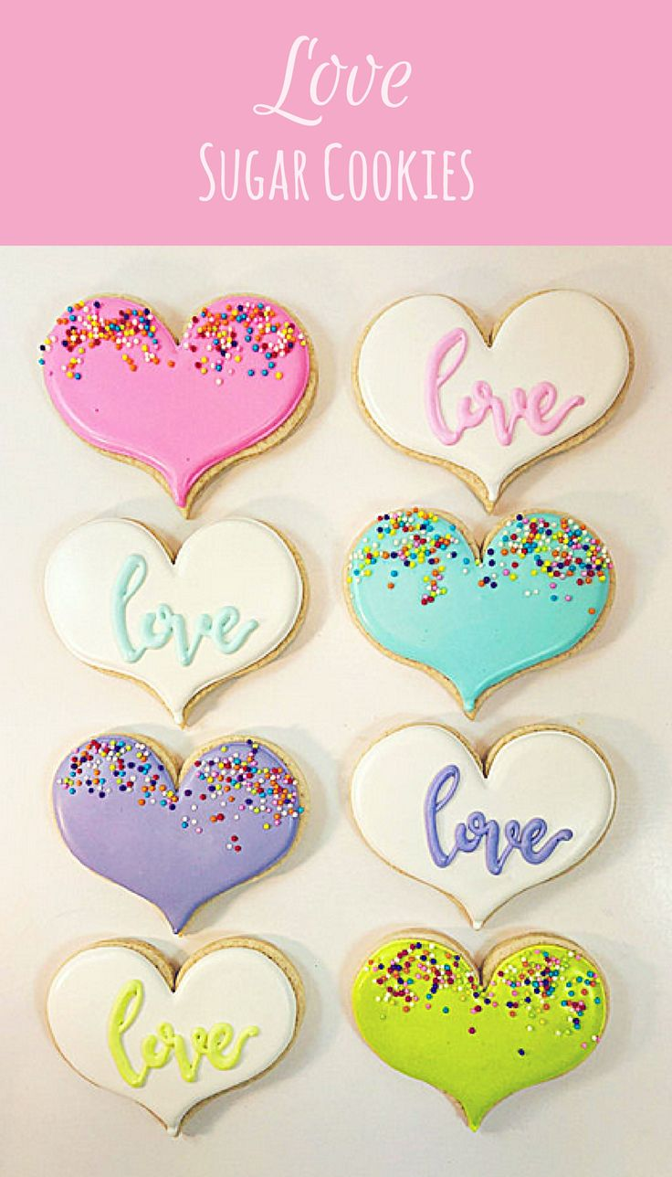 Love Heart Sugar Cookies Party Favors Girl's night Valentine's Day #affiliate