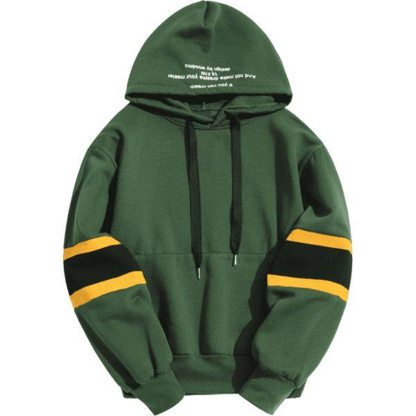 Pullover Contrast Color Hoodie (€24) ❤ liked on Polyvore featuring tops, hoodies, green top, hoodie pullover, hooded pullover sweatshirt, pullover top and pullover hoodies