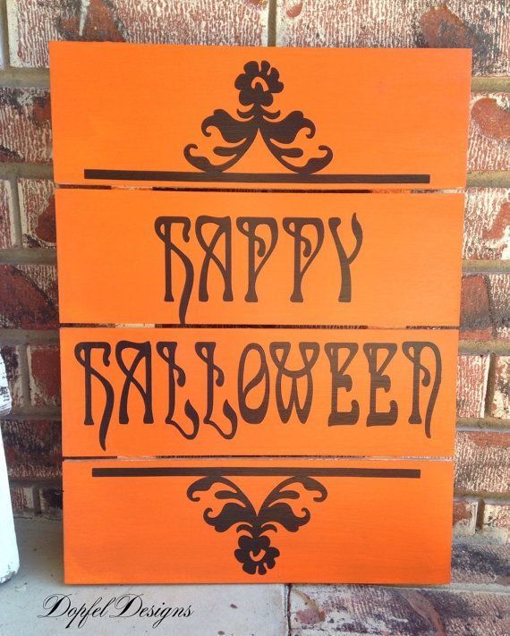 Happy Halloween Pallet Sign Halloween Sign by DopfelDesigns