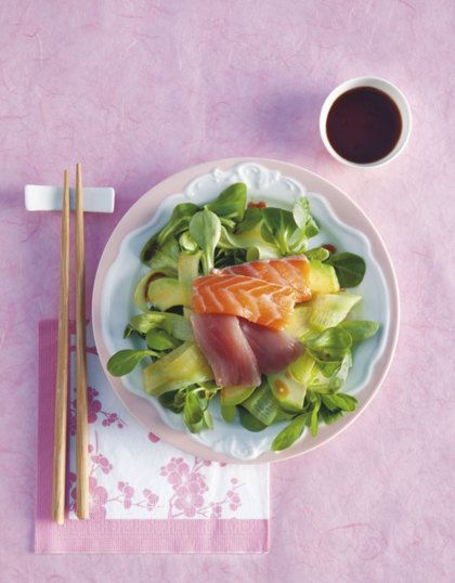 Recept voor sashimisalade met gemberdressing