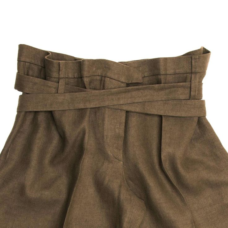 Brown Linen Cropped Pants
