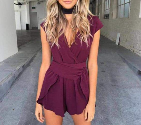 Candra Burgundy Playsuit