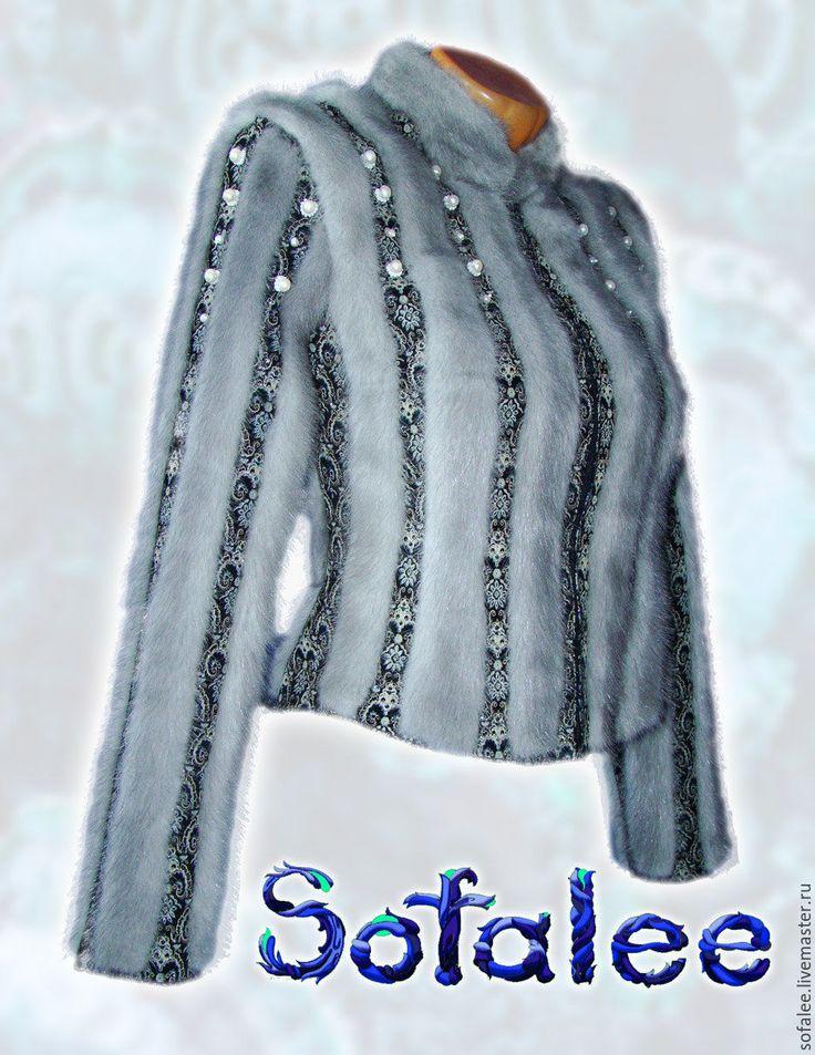 """Купить Меховая куртка женская из натуральной норки """"Августина"""" - серебряный, жакет меховой, жакет из меха"""