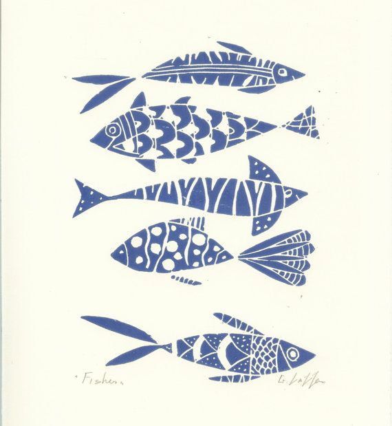 Fishes Linocut - Original Print - Blue Art, Hand Pulled Print - The Bluebird Gallery