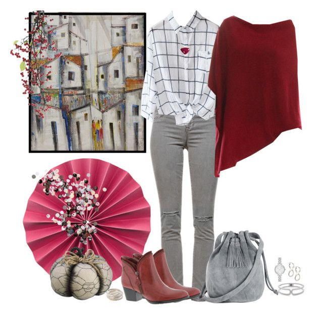 """""""Plaid Pocket Shirt/J Brand Jeans/Bordeaux Cashmere  Poncho"""" by skpg ❤ liked on Polyvore featuring J Brand, Warehouse, NOVICA, Earth, Allstate Floral, SonyaRenée, The Limited and Kate Spade"""